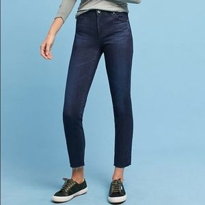AG The Stevie Ankle Raw Hem Skinny Jeans Dark Wash